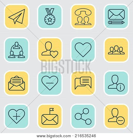 Network icons set with chatting, call, favorite person and other call elements. Isolated vector illustration network icons.