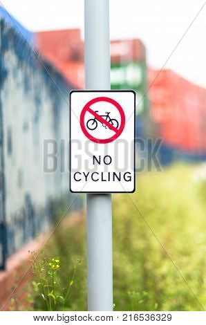 No cycling sign on a canal tow path