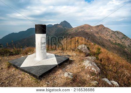MA ON SHAN COUNTRY PARK HONG KONG - At the summit of Pyramid Hill looking towards Ma On Shan Peak Ma On Shan Country Park Hong Kong