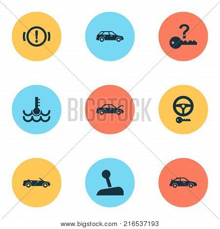 Auto icons set with alert, stick, hatchback and other fixing elements. Isolated vector illustration auto icons.