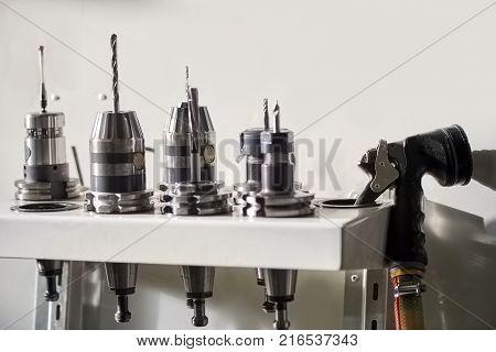 Set of drill bits. Hanging drill bits.