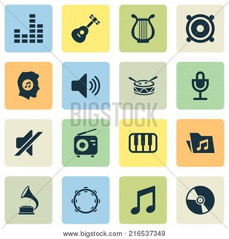 Audio icons set with lyre, barrel, meloman and other sound elements. Isolated vector illustration audio icons.