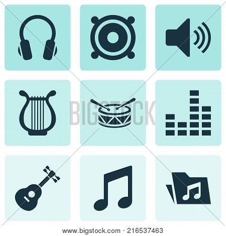 Audio icons set with dossier, instrument, equalizer and other equalizer elements. Isolated vector illustration audio icons.