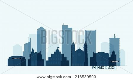 Phoenix skyline with its most notable buildings, detailed vector illustration