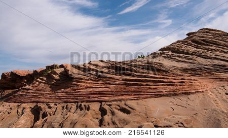 Delicate rock layers at Glen Canyon Dam Overlook in Page Arizona USA