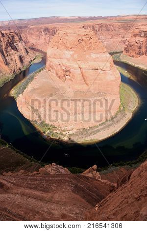 Aerial view of the Horseshoe Bend of the Colorado River in Page Arizona
