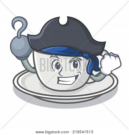 Pirate coffee character cartoon style vector illustration