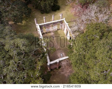 Aerial view of Old Sheldon Church Ruins in South Carolina, USA. Sheldon church was built in the 1740s, then destoyed in both the American Revolution and the American Civial War.