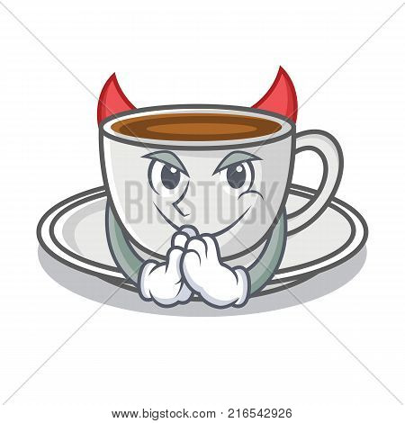 Devil coffee character cartoon style vector illustration