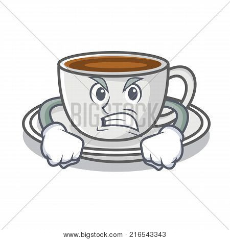 Angry coffee character cartoon style vector illustration