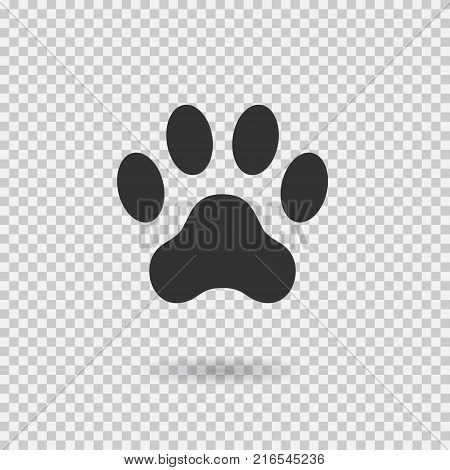 Animal paw print. Dog paw with shadow. Web icon. Footprint. Vector illustration isolated on transparent background.