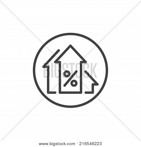 Percentage up arrows line icon, outline vector sign, linear style pictogram isolated on white. Profits arrow symbol, logo illustration. Editable stroke