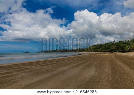 view of beachside with island on background in lio beach in philippines, El nido