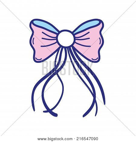 colorful ribbon bow with slats decoration design vector illustration