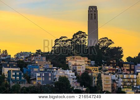 Famous San Francisco Coit Tower On Telegraph Hill At Sunset