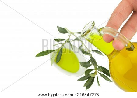 Olive oil with spices and herbs. Virgin olive oil. Natural olive oil healthy food.