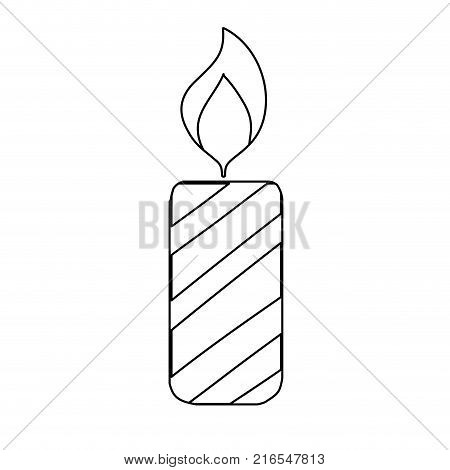 line candle fire flame to christmas decoration vector illustration
