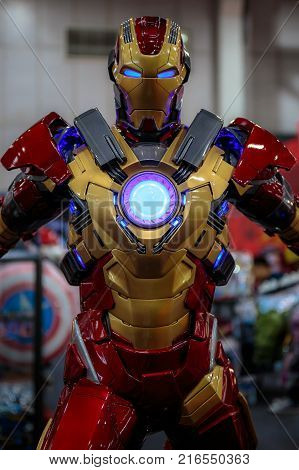 Bangkok, Thailand. - August 28, 2017 : Ironman or iron man , Marvel super heroes stand for promote movie at Bangkok, Thailand.