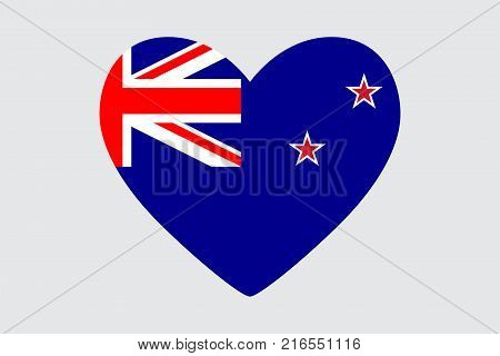 Heart in colors of the New Zealand flag vector