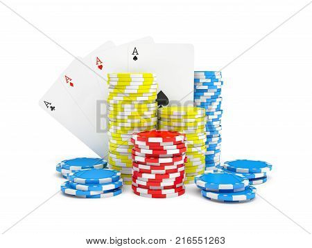 3d rendering of multicolored casino chips with four different ace cards isolated on a white background. Casino and gambling. Money bets. Easy win and lose.