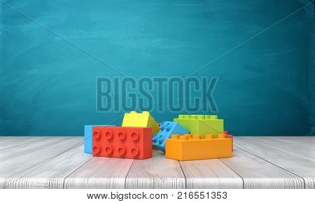 3d rendering of a toy building blocks lying in a colorful pile over a wooden desk on a blue background. Play time. Construction blocks. Toys and games.