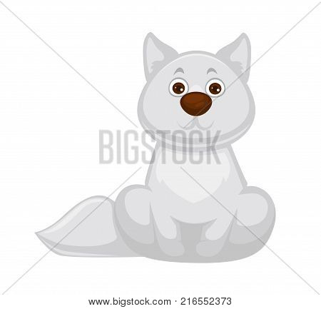 Adorable white fox baby with big brown nose, straight ears, long fluffy tail and soft fur isolated cartoon flat vector illustration. Forest little albino animal that has round kind brown eyes.