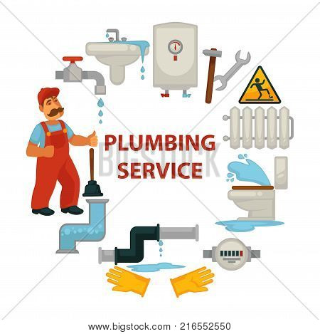 Plumbing service promotional poster with worker in uniform, broken sanitary engineering, pipes with leakage and tools for repairment isolated cartoon flat vector illustrations in circle around sign.