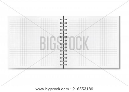 Opened realistic square quad notebook on spiral binder mockup school ruled notepad blank two page opening. Clear notepad centre pages or clean centre page spread with shadow template