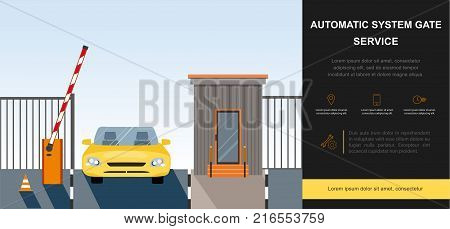 Automatic Rising Up Barrier, automatic system gate for security. Flat and Colorfull illustration. Vector graphic