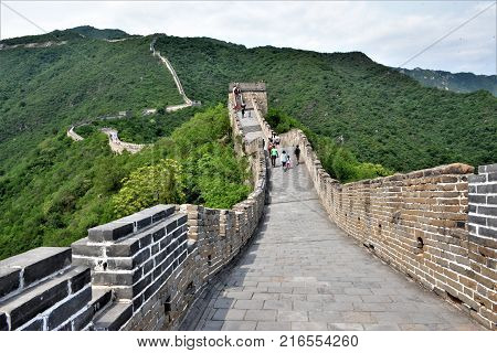 Panoramic view of the great wall of China in Beijing the wall is hundreds of kilometer long