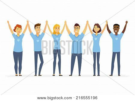 Happy volunteers holding hands - cartoon people characters isolated illustration on white background. International men and women wearing blue T-shirts with a heart. Concept of social work and unity