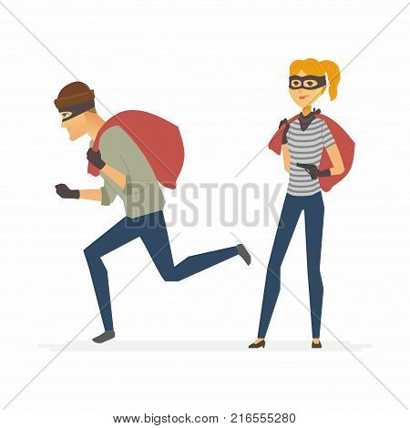 Thieves - funny cartoon people characters illustration isolated on white background. Young criminals wearing masks, gloves and holding money bags. Woman is waiting with a gun, man is trying to escape