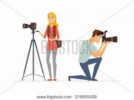 Photographers - cartoon people characters illustration isolated on white background. Two young smiling people at work taking pictures with professional equipment, one camera is on a tripod