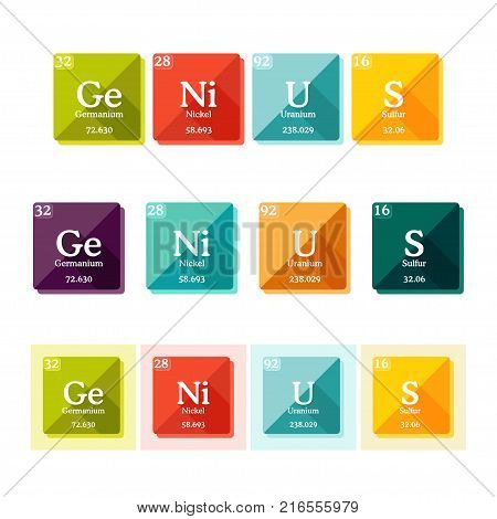 Word Genius formed of the elements of periodic table. Typography of chemical elements concept. Vector illustration in flat style.