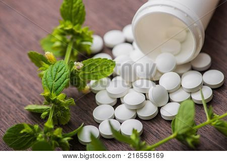 Medicine Herbal Pills With Bottle