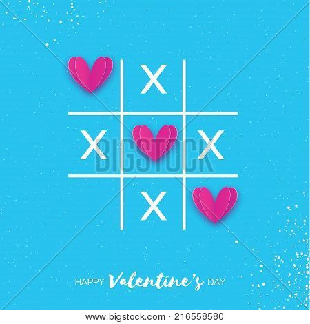 Tic tac toe game with criss cross and pink paper cut Hearts sign mark XOXO. Happy Valentines day card. 14 February. Romantic card For wedding. Sky blue background. View from above. Vector Illustration