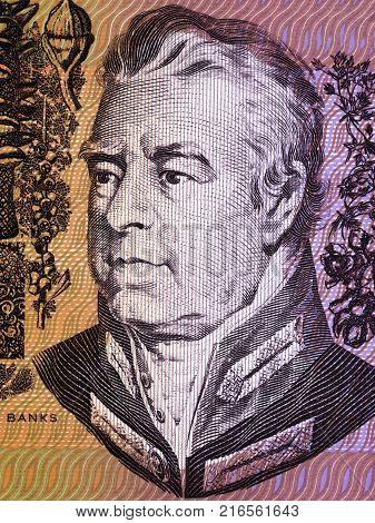 Joseph Banks portrait from Australian money - Dollars