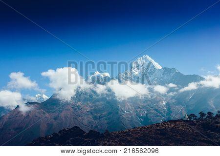 Highest mountain in the world. Panoramic view of Himalaya mountain. Snow mountain peaks. Way to Everest base camp, Khumbu valley, Sagarmatha national park.
