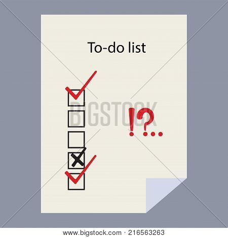 To-do list theme. Check list. Check marks and check boxes . To do list isolated on white background. Interrogative and exclamation marks.