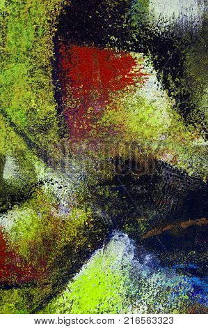 Abstract art background. Oil painting on canvas. Multicolored bright texture. Fragment of artwork. Spots of oil paint. Brushstrokes of paint. Modern art. Contemporary art. illustration arts blue red green black color.