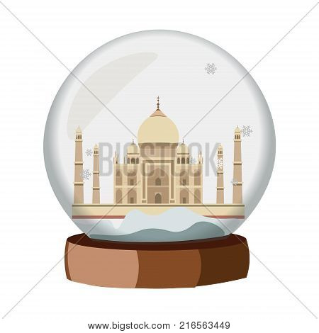 Snow globe city. India in Snow Globe. vector illustration