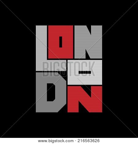 London Typography Graphics. Concept for print production. T-shirt fashion Design. Template for poster print banner flyer.