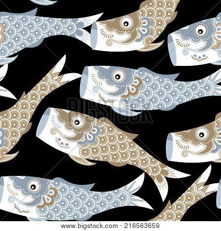 Koinobori (carp streamer). Fish Kites. Traditional japanese Celebrating Children's Day. Seamless background pattern. Vector illustration