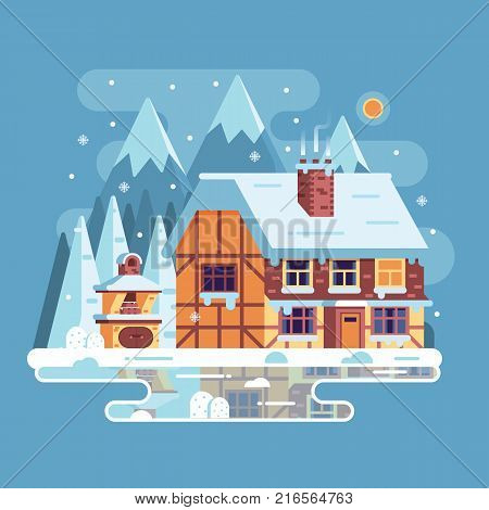 Snowy scene with rural winter home with smoking chimney on mountain background. Forest cottage or timbered cabin on frozen lake by wintertime. Cartoon snow capped house landscape banner.