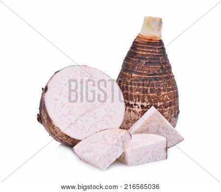 whole and half with slice of taro root isolated on white background