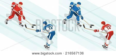Fght for the puck at the hockey game. 2 variants of the coloring of uniform. Isometric illustration.