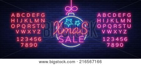 Xmas sale, christmas discount poster, flyer card in neon style. New year discount neon design text. Festive winter sale, neon sign, bright advertising. Vector illustration. Editing text neon sign.