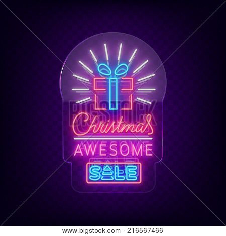 Christmas festive sale of a poster in a neon style. Vector discount card, neon sign, bright banner, luminous sign, neon night advertising, Xmas discount sale. Neon sign on transparent glass.