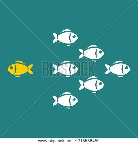 Think different concept one unique fish going to opposite direction. Vector illustration.