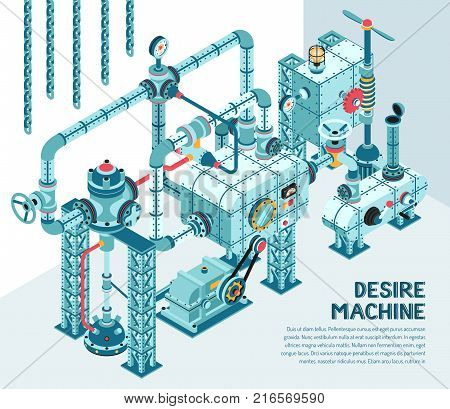 Fantastic industrial machine of intricate design - with pipes fittings adapters flanges valves. Isometric illustration.